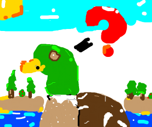 confused green duck