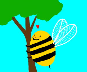 some giant bee humping a tree