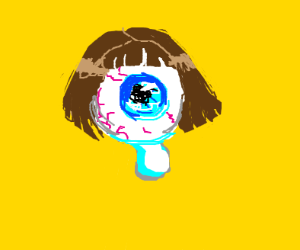 hovering eye ball with hair crying :(