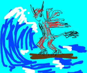 red demon about to surf