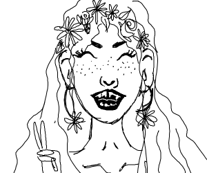 Crazy hippie lady with rotten teeth.