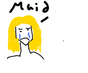 blond depressed crying maid