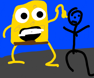 spongebob attacking someone