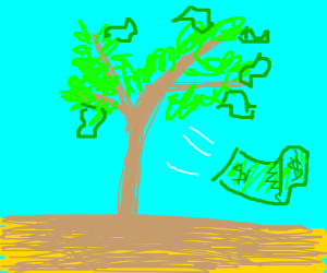 money literally growing on a tree