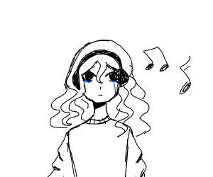 Girl listening to sad music