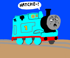 Thomas the Train holds in a sneeze