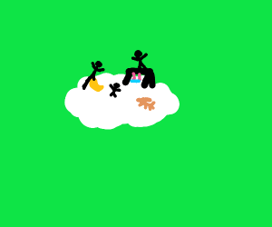 Kids and dogs on a cloud playground