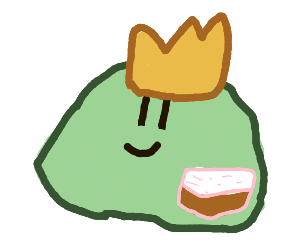 Cute green crowned slime with cake inside