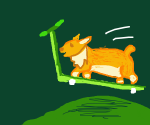 A corgi man jumps over a large hill on scoote