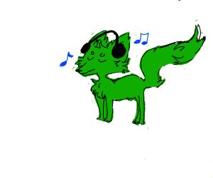 Green fox listening to music...maybe?