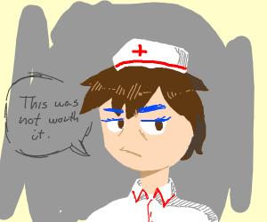 boy nurse with blue eyelashes and eyebrows