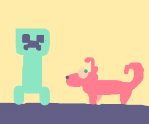creeper and a alien dog