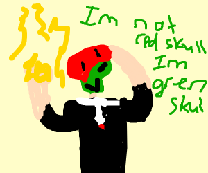 green skull with lightning powers