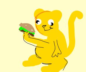 Cheetah eating a Hamburger