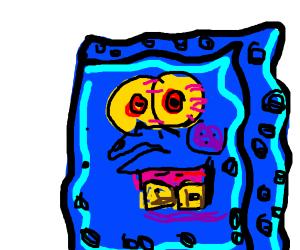 blue creepy spongebob with looong arms