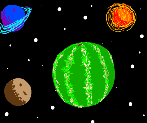 Watermelon planet with some other planets