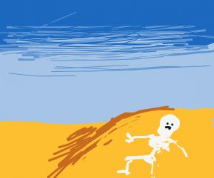 Skeleton drowns in the desert.