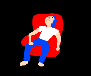 a man sleeping on chair