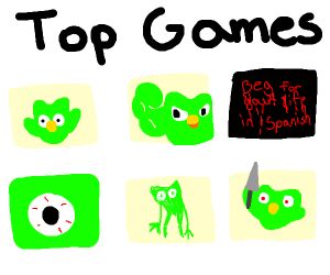 The Duolingo owl is in the top games