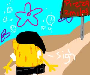 Emo spongebob goes outside to get pizza