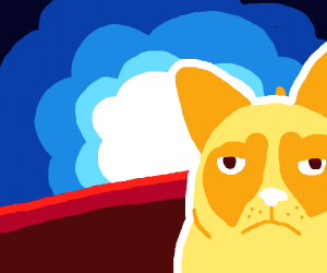 blue explosion with grumpy cat in the corner