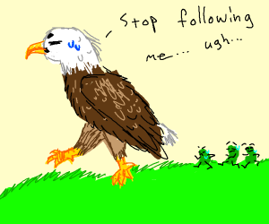 Eagle jogging with Green Beans