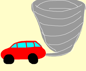 A car is creating a tornado