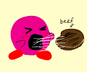 Kirby eating beef