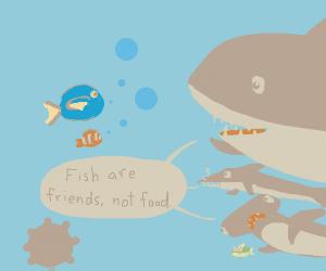 Marlin and Dory meet the sharks