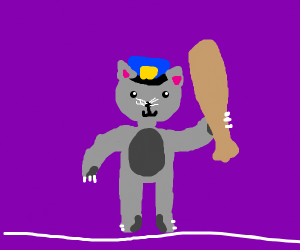 Police cat with a bat and lil' hat