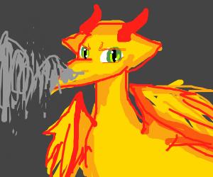 Yellow dragon w tattered wings breaths smoke