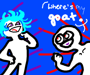 Cyan haired person vs someone who needs goat.