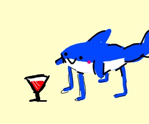 A dog-shark hybrid drinks Bloo- wine.