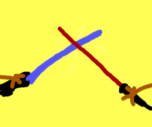 Closeup on two lightsaber crossing each other
