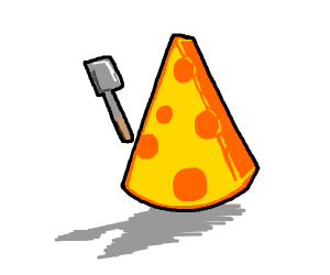 Cheese holding a spatula