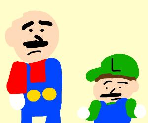 Big Mario is bald, little Luigi shrugs