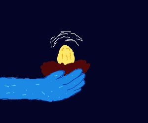 Hand holding a nest with a golden egg in it