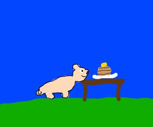 A pig eating pancakes