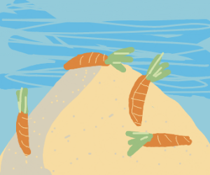 carrots in a pile of sand