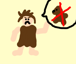 caveman protesting about bears