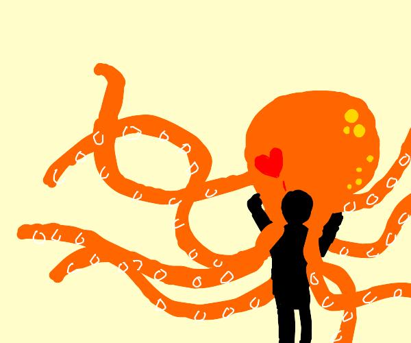 Girl hugging huge plush octopus