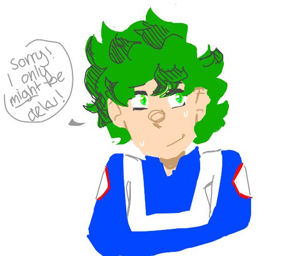 anime eyes.. green hair? its probably deku