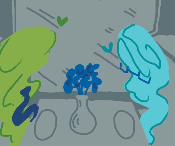 Green tornado and blue tornade met