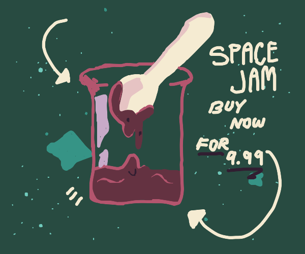 Giant spoon in red jam in space