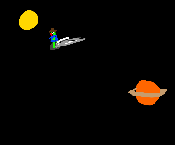 Cowboy on a comet between the sun and Saturn.