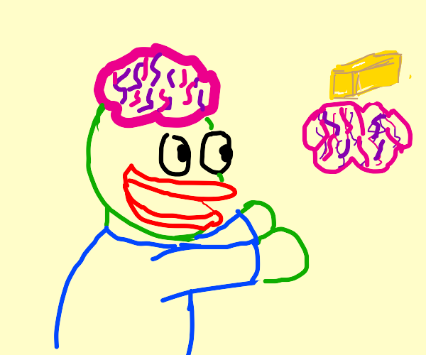 Zombie with brain wants brains and butter