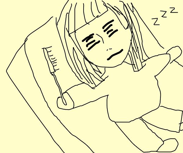girl sleeping with a straightning hair brush