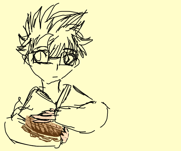 anime guy with glasses pets a steak