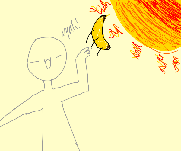 Banana being tossed at a sun