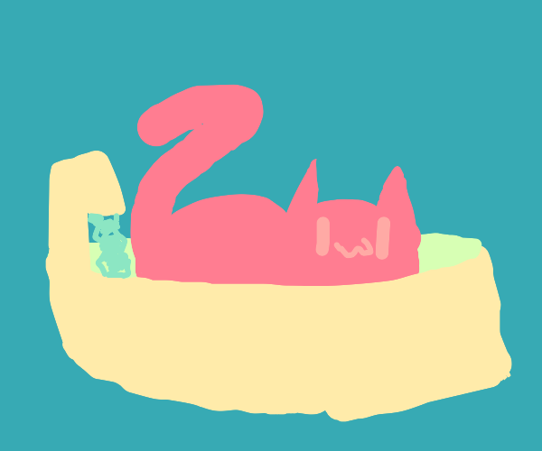 Cat relaxing in a small bathtub